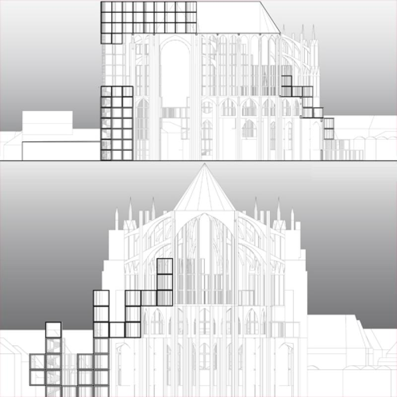 Early concept for the completion of the nave, and the extension on north and east side of the Beauvais Cathedral.
