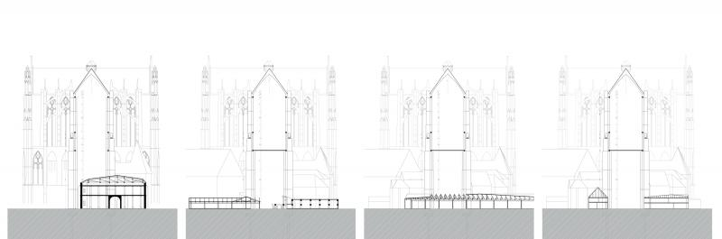 Intersections between the buildings and the Perpetual Nave.