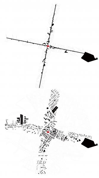 Mapping of the buildings that intersect with the projected lines from the Beauvais Cathedral along the four axes.