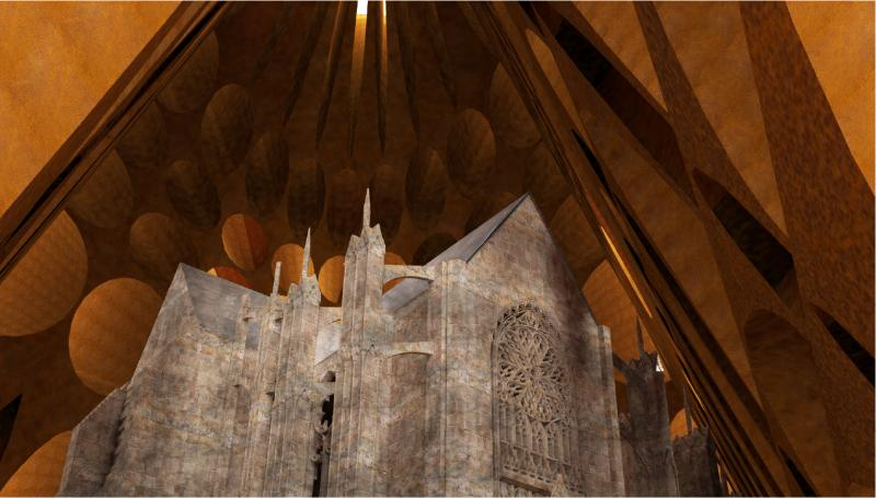 Preserved cathedral in the pyramidal space