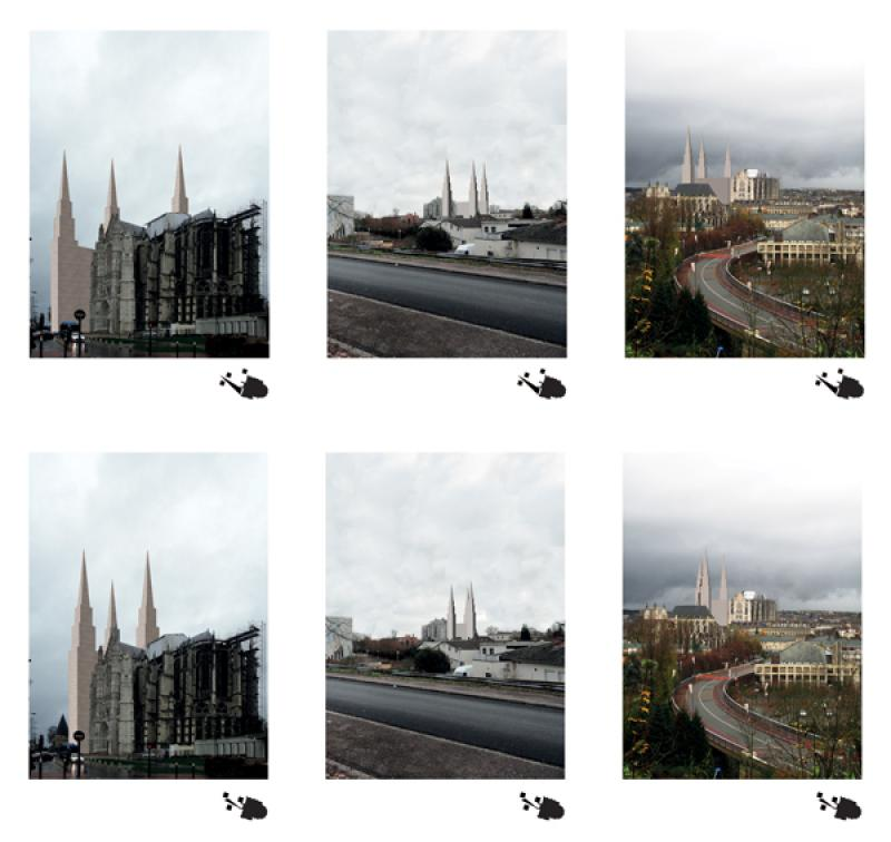 A play on perspective where certain views within the city show the 'sacred Image' of a cathedral.