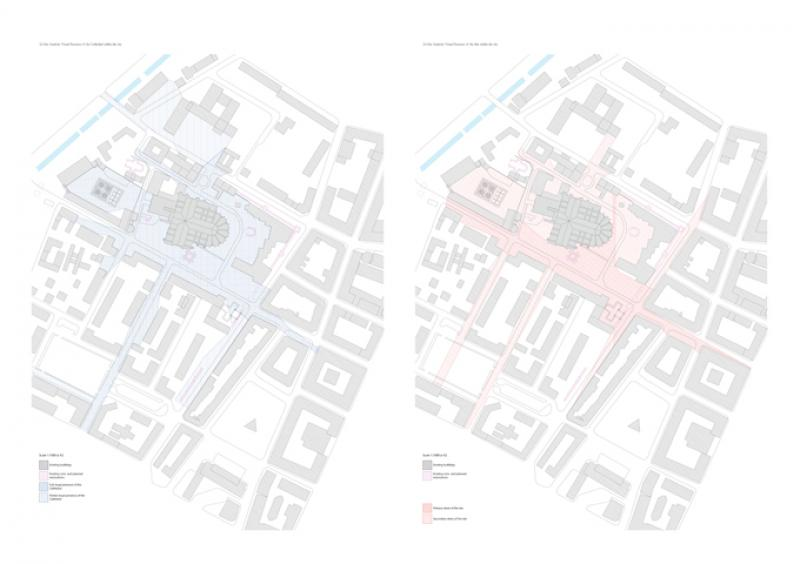 Analysis representing the visual presence of the cathedral within the city, and the presence of the immediate context.