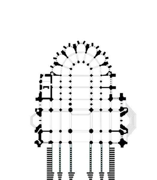 Ground plan with five portals leading into a nave and four aisles.