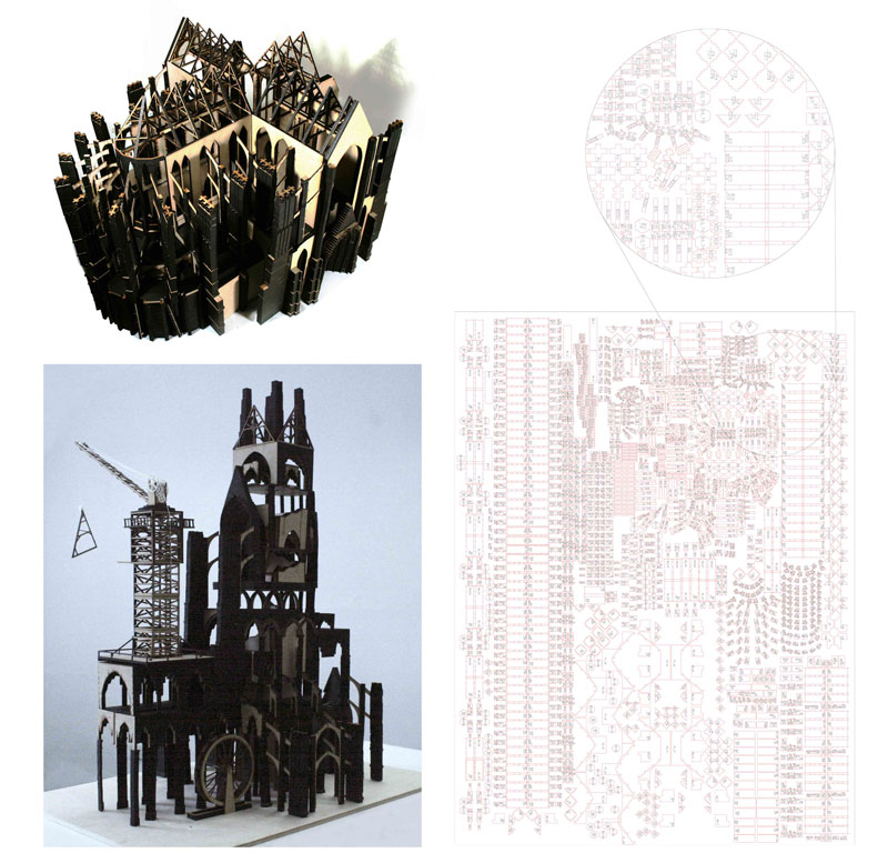 1:100 scale laser-cut model, derived from 7500 individual stone pieces to form a 'gothic kit of parts'. To be reconfigured as a revival of the gothic form. A futuristic reconfiguration in the form of a tower allows for natural light to permeate a multilayered commercial, cathedral tower.