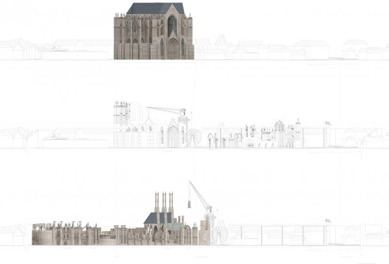 Elevational transformation of Beauvais cathedral. In 2016 we will see a 'gothic ampithetre' generated through a horizontal striation of gothic masonary elements, reorganised through the cylindirical constraints of the permenant, crane mechanism.