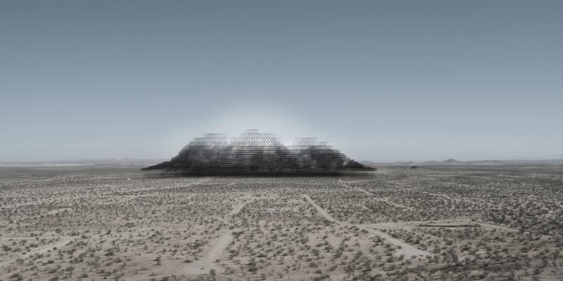 As one approaches the Second Community and its mountain avatar through the desert the light from 1500 mirrors reflected on the artificial sky of the port.
