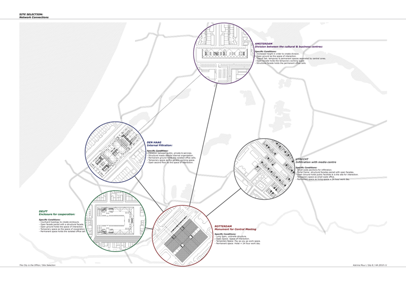 The Project uses the existing network of the Randstad, with Amsterdam, Rotterdam, Den Haag, Delft and Utrecht as the chosen sites because of their different city scales and site specifics. The project, proposes this dispersed corporate complex which expands into the territory and requires more sensitivity to the local context while maintaining an architecture for the corporation.