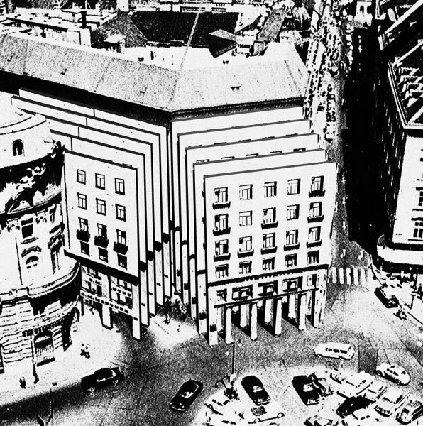 The Looshaus building enraged catapults itself towards its enemy the Emperor's Hofburg Palace.