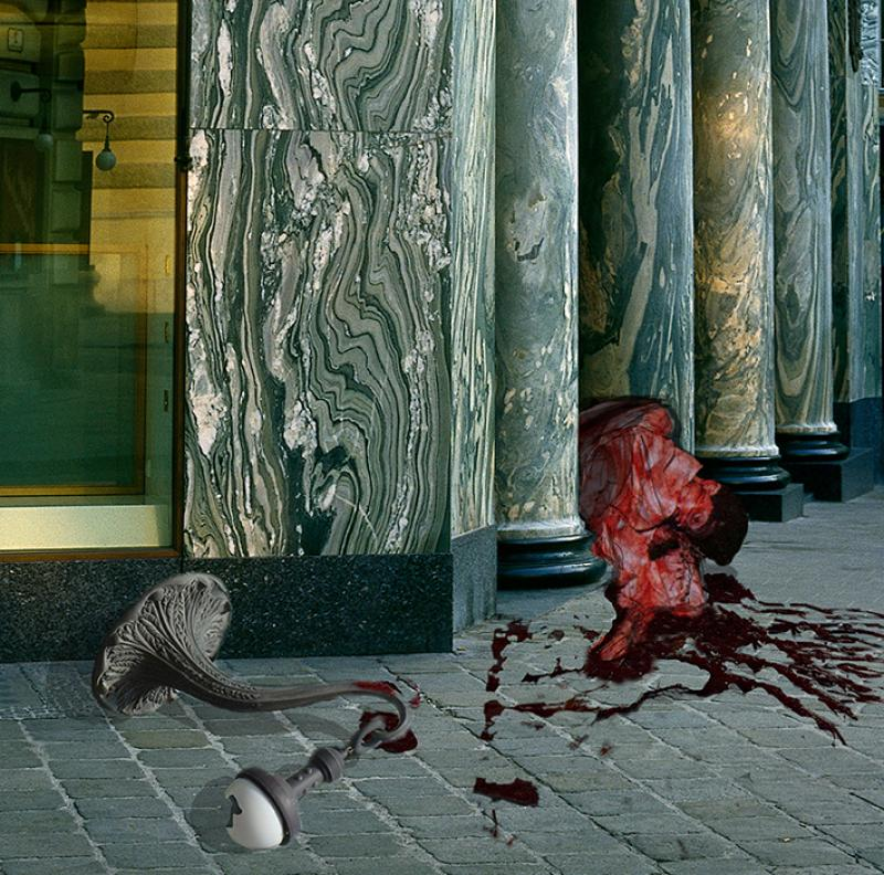 Murder of a man outside the Looshaus building caused by the architectural conflicts of the square.