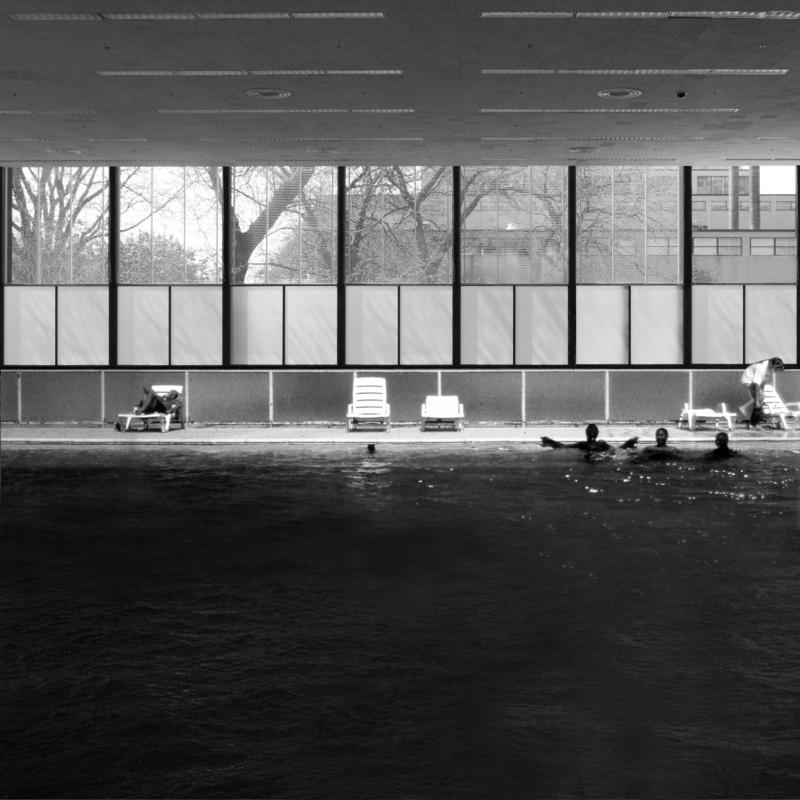 A reproduced copy of the Crown Hall is turned into a swimming pool. The swimming pool and the offset railing are elements taken from an image of Lafayette Park. The image of the swimming pool is intentionally taken from another project by Mies. The appropriation of the copy becomes a replication of program within the work of Mies.
