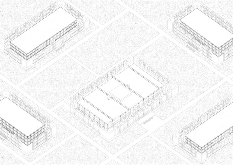 Axonometric view of the encasement structure showing the proximity between the original facades of the reproduced buildings, and the copied facades embedded in the encasement.