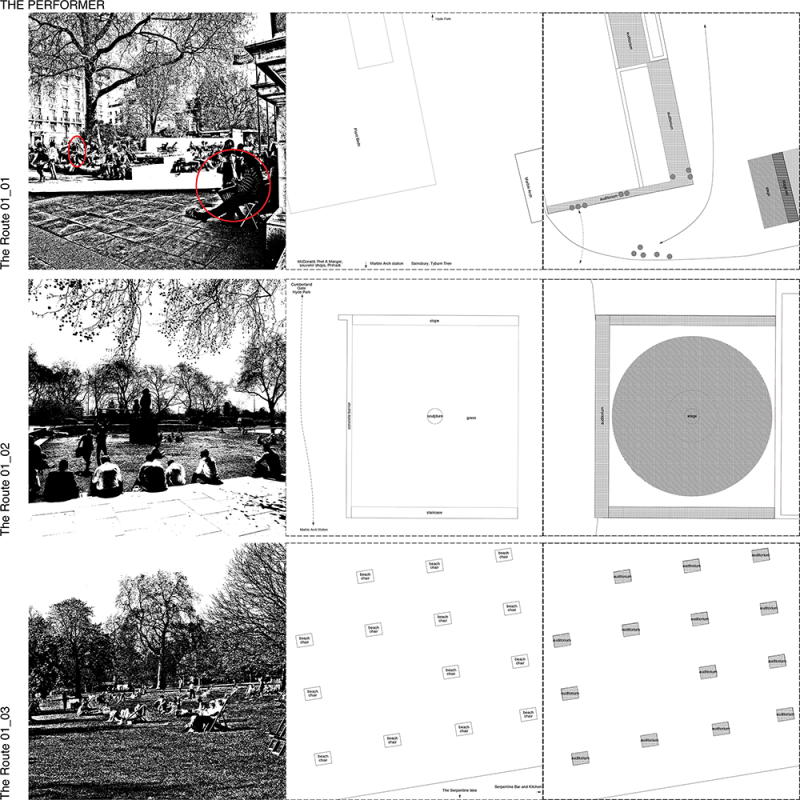 Left: The images of theatrical spaces