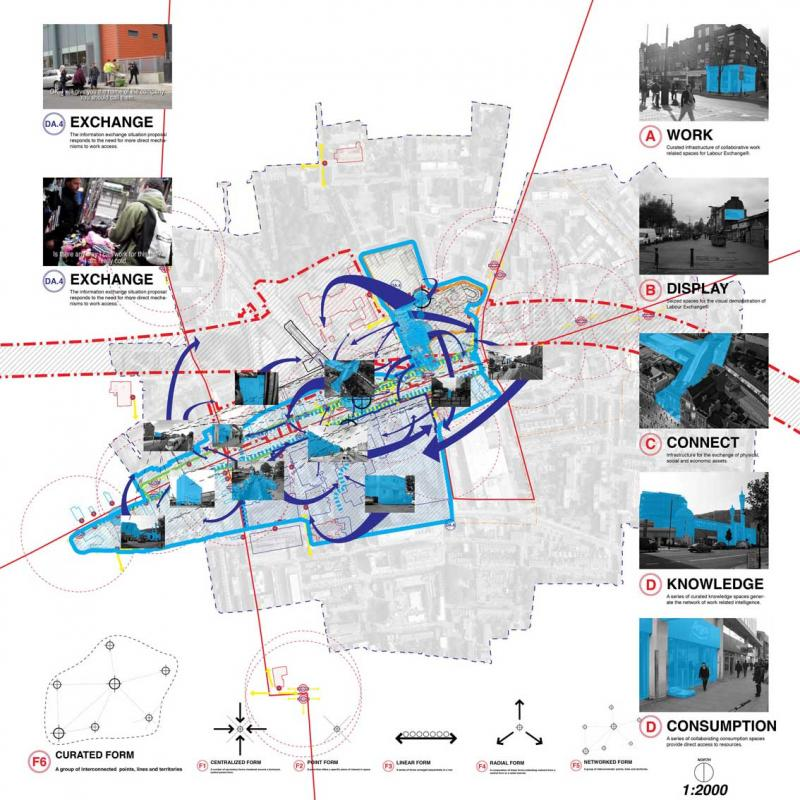 The Exchange® network curates the possibilities of work around Crossrail's statutory territory by including the key institutional forms of the area. 