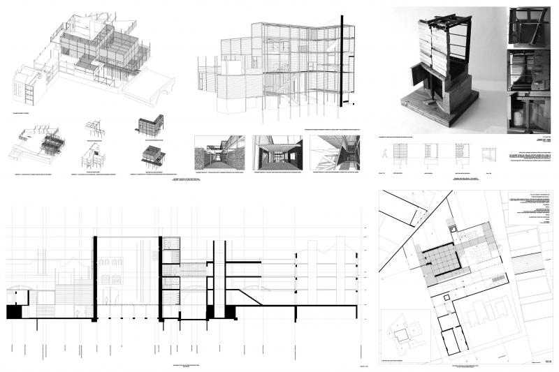 Scheme drawings and material and construction details. Qualities and materials from the site - a material storage depot - in the form of railway ties and steel retention are used to construct fragments around the redundant building.