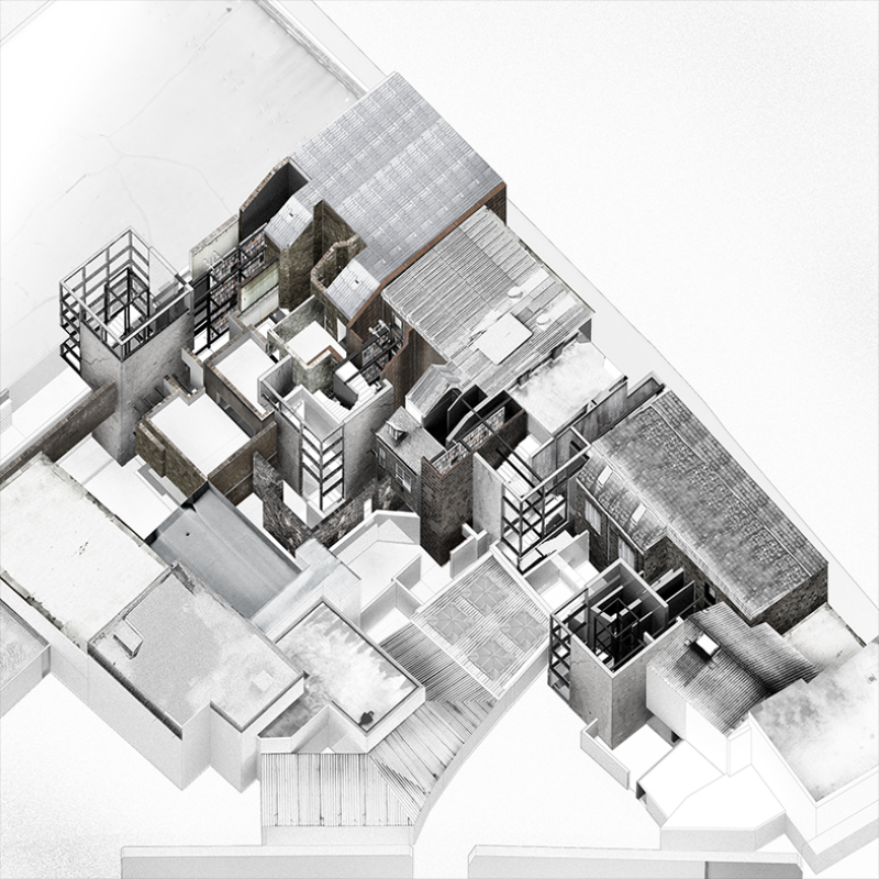 The follies consolidate various building typologies into a vast infrastructural landscape.