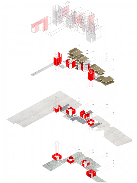 Axonometric showing re-mediation of existing building plans and library infrastructure.