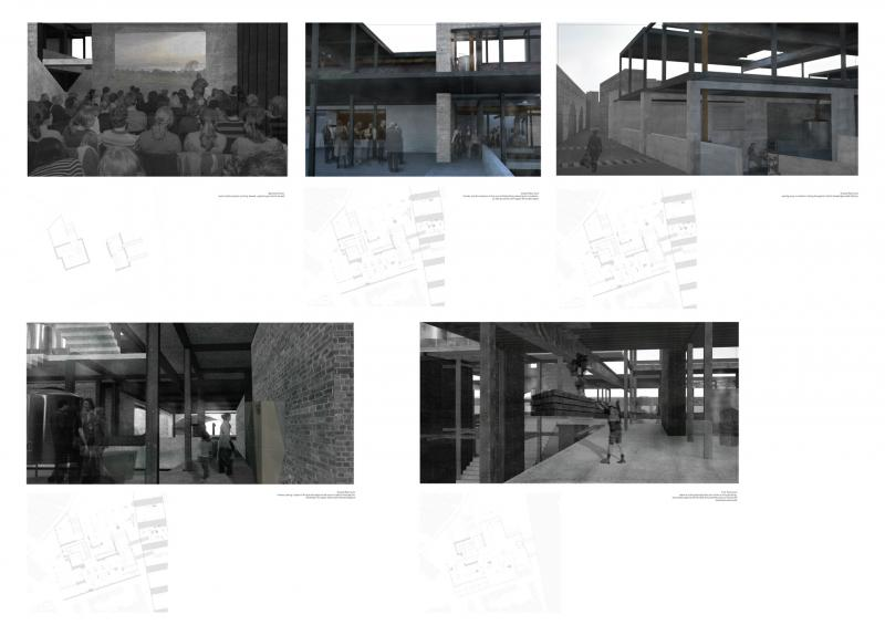 Fragments and moments of Urban Craft Hub, where the urban interior of the infrastructure are read against activities of the site