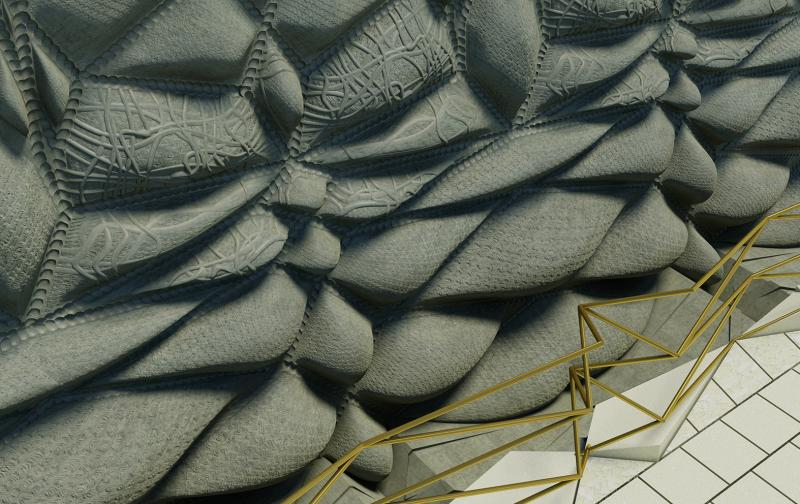 With the inversion of gender, textile surface solidifies into a permanent ornamental carapace.