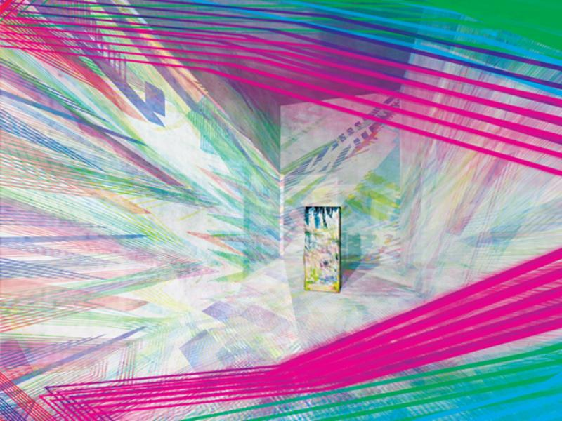 As time passes, projected polychromatic ornaments are changed and the coloured projection is casted on the artwork. This is an artwork completed with regular surface of one colour. However, the interior is full of irregular shapes of various colours.    