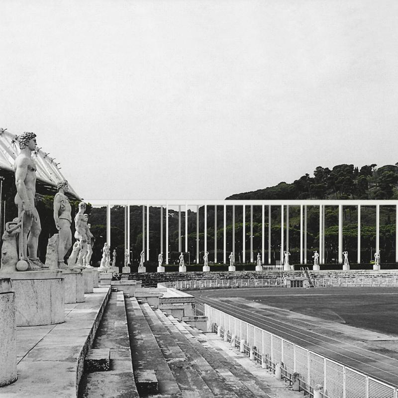 The fourth Stoa of the complex, stripped of the interior units, opens a gateway to the sports facilities which are available for the inhabitants to use. However, it also stands as a provocation, beside the ruined fascist ideologies of collective identity, once architecturally expressed by the Foro Italico. It suggests a political situation that is assumed to have disappeared, albeit more pervasive in actuality.