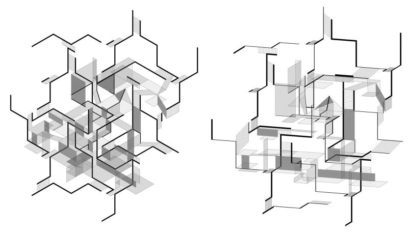 Spatial juxtapositions, material transparencies and effect qualities explored through physical models and drawings of isometric projection become the architectural grammar of the proposal. Isometric projection allows the re-interpretation of three-dimensional arrangement and organisation of the rhythmic composition.