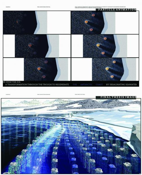 A. Animation: stills of particle animation; to show the simulation of regeneration of Antarctic coastline by deslinating seawater and stimulating the growth of ice shelves; re-edge the ice.