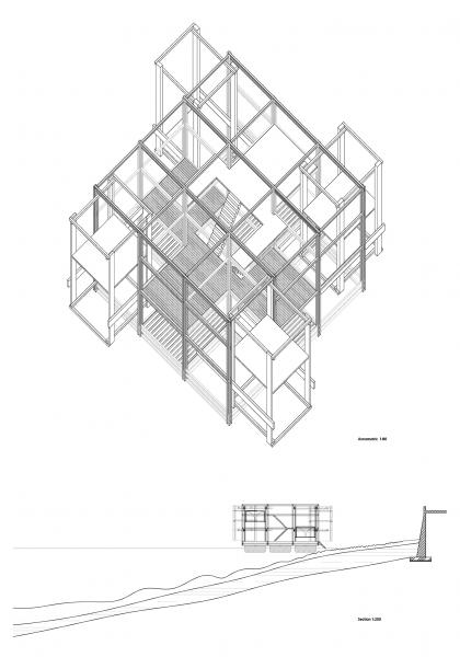 Floating Folly, version 2 site section and axonometric
