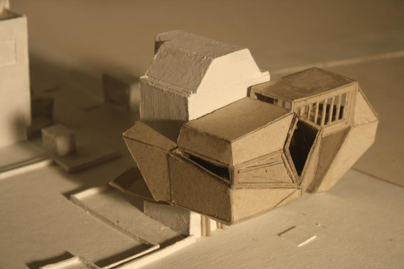 An early idea for the design project on a site model.