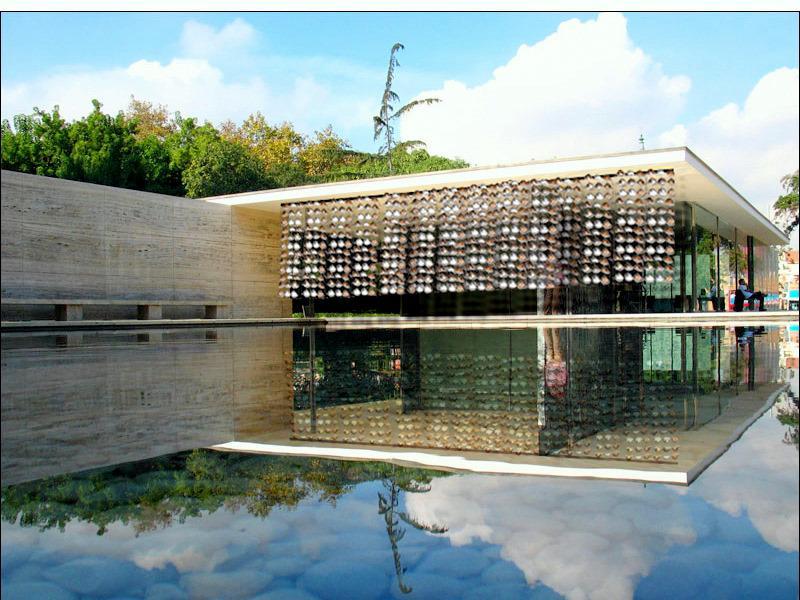 Solar pods draped over Barcelona Pavilion