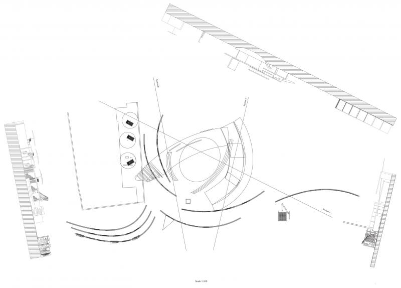 Plan of the performing space with three sections