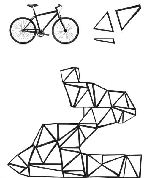 Structure made from the three triangulations of a bicycle