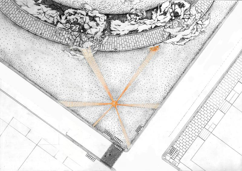 This is plan drawing of one corner of Bedford Square outside the school where other groups placed their installation made of oranges lying on the ground following the shadow the central lamp created at the night.