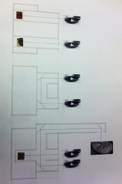 Drawing showing the views on the different levels of the vanity box