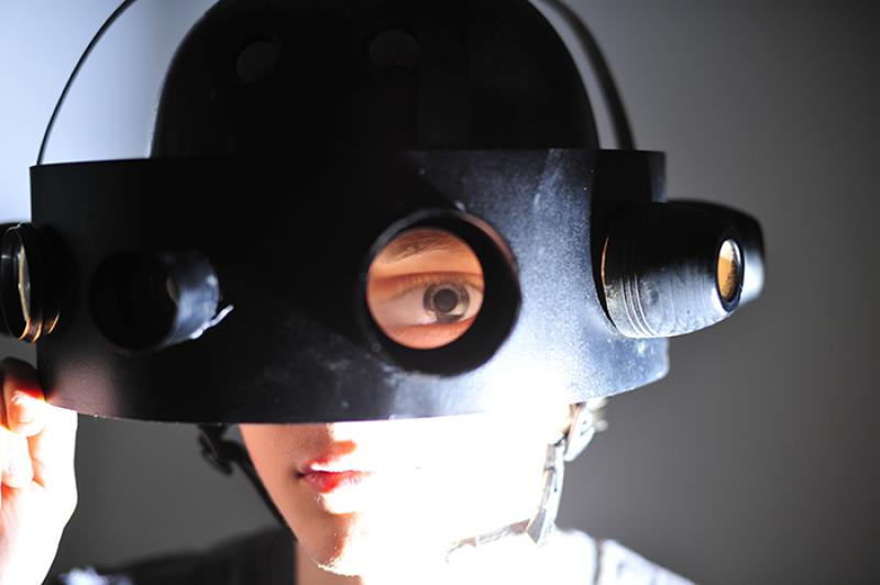 Photograph of 'Vision Helmet', forcing the subject to view through different lenses, which all reframe and disort the field of vision, having an effect on the behaviour of the person wearing it.