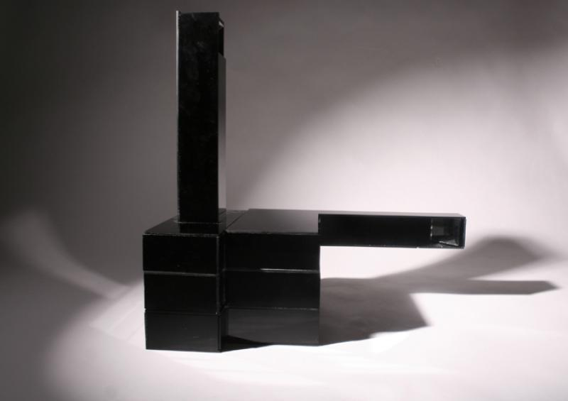 Perspex box with arrangement of Mirrors inside, allowing the viewer to see parts of the self which are normally hidden or physically not possible to see; also allows views from different vantage points.