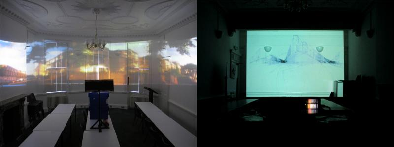 Comparing the drawn panorama projected directly on to a flat wall to the stretched image of the panorama projected on to three walls. (Through the Looking Glass)