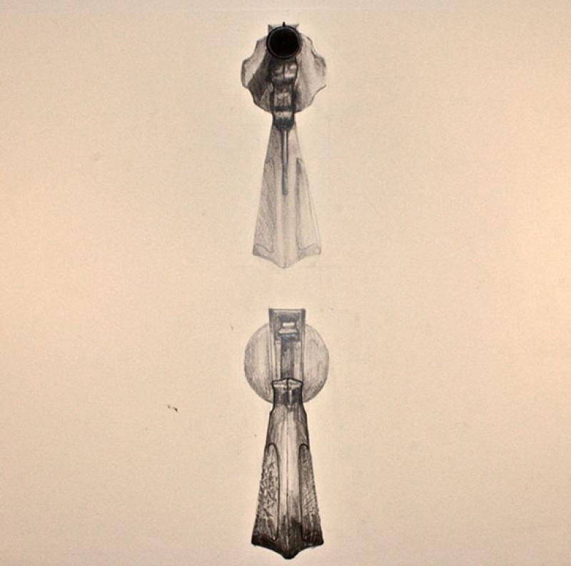 drawing of object at 2:1 scale.front/back. pencil and ink on paper. 