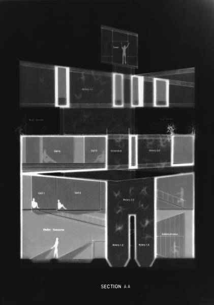 Photogram showing rehabilitation clinic in section. 