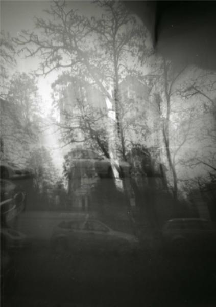 Pinhole camera picture of the site in London's South Kensington. The camera has been treated as a puppet.