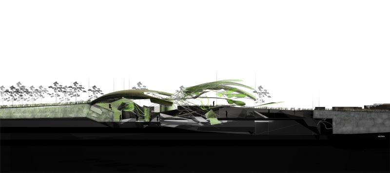 Depending on the gas introduced in the creature, architectural elements react to it creating new spaces.