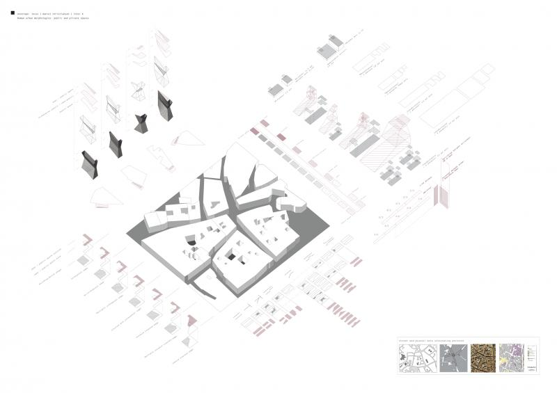 Study of Roman urban pattern: layered interferences help create spatial qualities within the urban fabric that allow for ambiguity between private and public spaces.