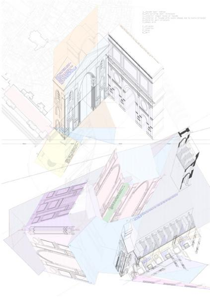 As a rather more frozen version of time, the similarity with my prototype lies in the way Alberti takes the façade, changes its scale (for example, when he introduces an extra pilaster in the corner of the nave) and repeats it within the interior along the faces of the chapels: therefore the unfolding outlines the configuration of spaces where time starts to illustrate the sequence that Alberti has created in the metamorphosis of his walls.