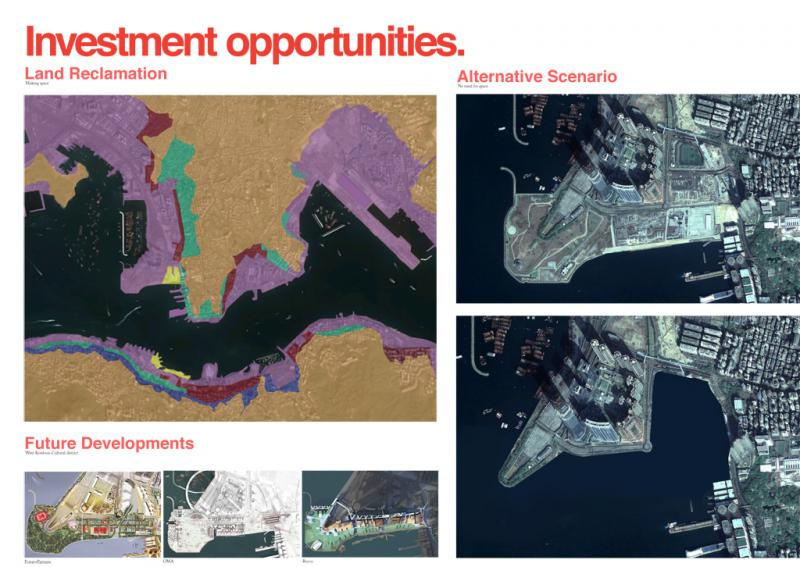 Land reclamation, together with land speculation, define the investment-driven development of Hong Kong. Alternative scenarios to the reclamation of land are investigated.