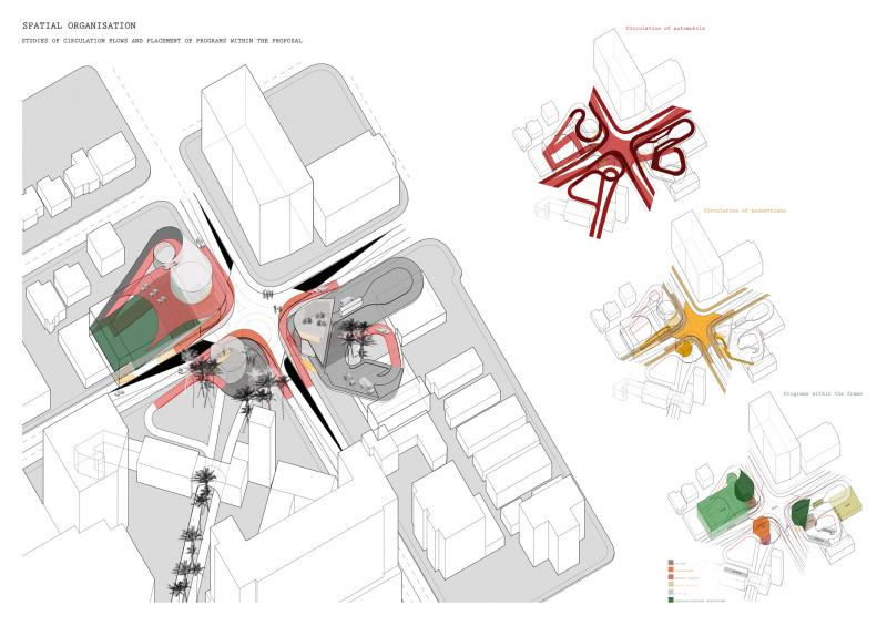 Proposal of the frame: the core of the intersection turns into a plaza, a public space, featuring programs on each corner which can be shared by drivers as well as pedestrians.