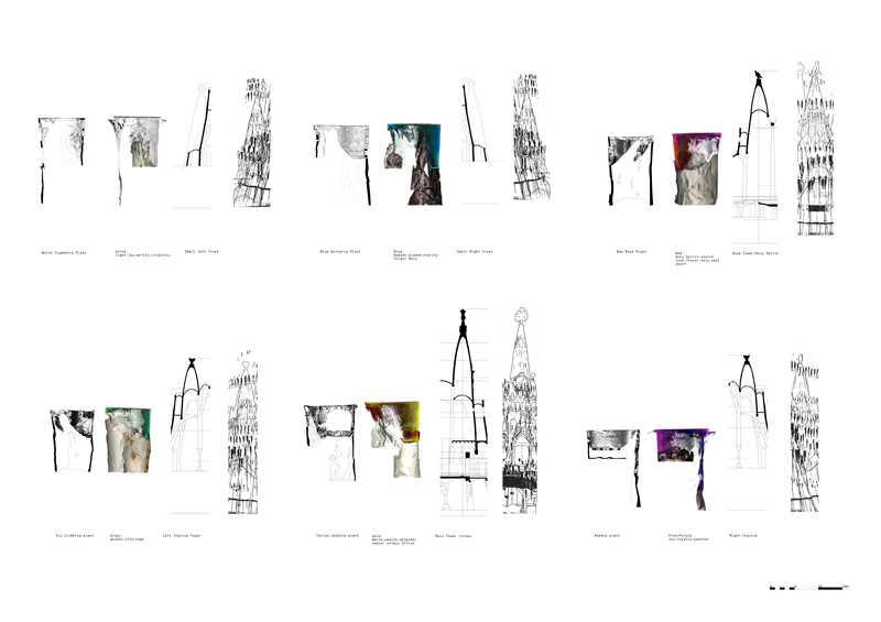 Adapting towers to those of Gaudi in terms of colour symbolism and plants.