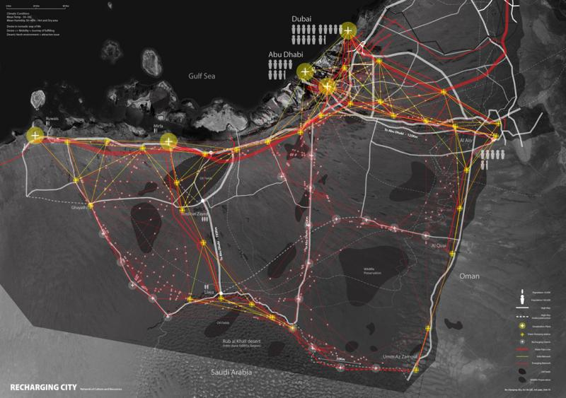 Recharging city is an urban intervention to mediate socio-ecologic issues; cultural identity, water and land use in UAE.