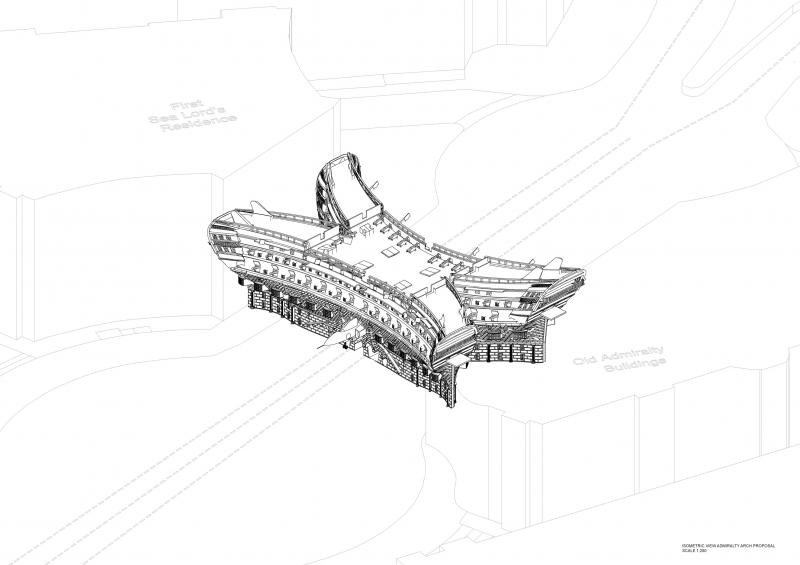 An isometric site plan providing a visualisation of the scheme for the proposed new Admiralty Arch.