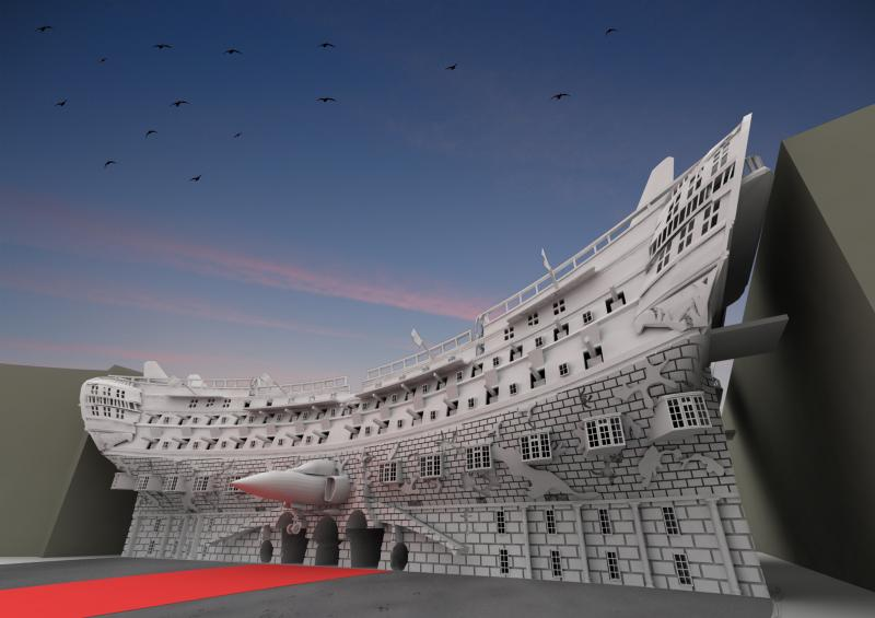A visualisation of the new Admiralty Arch proposal from a human perspective.