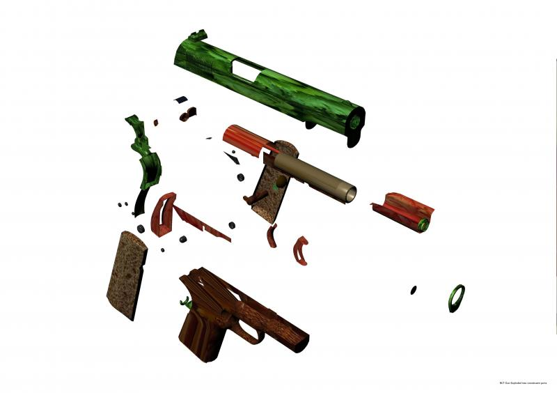 A screenshot from an animation exploring a Colt handgun made from the ingredients of a BLT sandwich in order to subvert its charged meaning through changing its materiality.