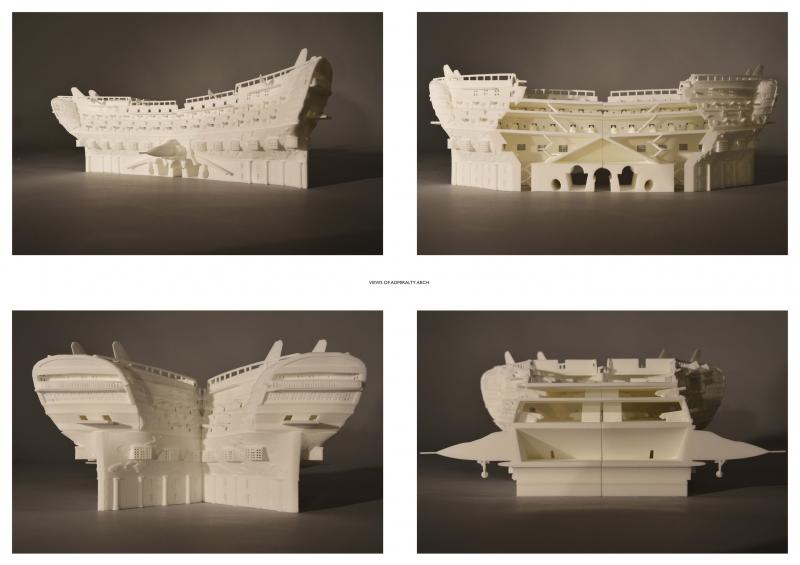 Views of the sectional presentation model of the new Admiralty Arch.